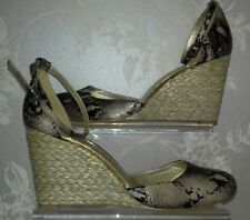 NEXT SNAKESKIN SHOES SIZE 8 ANKLE STRAP WEDGE HESSIAN HEEL SMART WORK PARTY