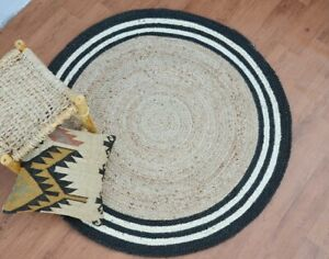 Round Rug 100% Natural Jute Braided Style Reversible Carpet Home Decor Area Rugs