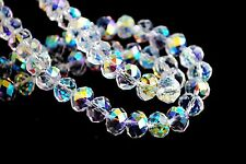 200pcs 5040# Rondelle Faceted Half Clear AB Crystal Glass Loose Beads 3x2mm
