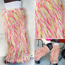 Long Neon White Spike Furry Fluffy Fuzzy Leg Warmer Boot Cover Cuf Rave Faux Fur
