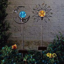 Solar Sun and Moon Garden Stake Set Outdoor Patio Yard Lawn Colorful Metal Decor