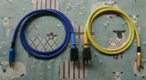 Pair of QUAD II Monoblock Jones Plug to phono plug leads 1 meter blue/yellow