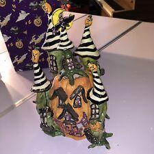 Blue Sky Clayworks Heather Goldminc Halloween Pumpkin Palace House Tea Lite 2003