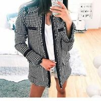 ZARA BLACK AND WHITE TWEED LONG JACKET COAT  WITH ZIPPED FRONT BNWT  XS&S&M