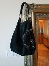 Lucky brand black suede studded peace sign hobo preowned