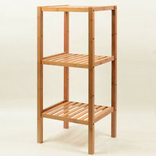 BAMBOO 3-TIER SQUARE STORAGE SHELF BOOK PLANT SHELF MULTIPLE USE STRONG ELEGANT