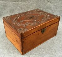Big antique Art Nouveau box made of wood early 1900's carving woodwork