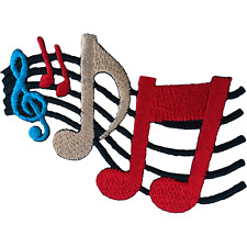 Music Notes Patch Iron Sew On Clothes Embroidered Badge Musical Sheet Embroidery