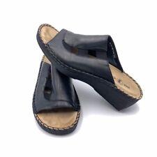 Duck Head Womens Mule Slide Sandals Black Wedge Heels Leather Slip Ons 9 M