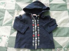 Girl's size 3 Blue Hoodie Cardigan with Checks & Embroidered Flowers
