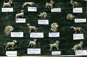 Pewter Pin Badges Brooches assorted dog breeds Made in U.K. country life