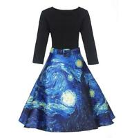Woman Vintage Retro dress Van gogh Sky Printed Half Sleeve dress S-XL dress