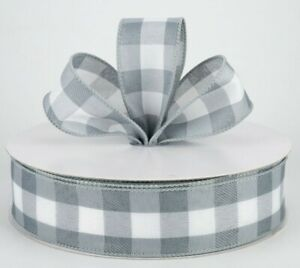 ATRBB Green and White Buffalo Plaid Ribbon Wired Edge Gingham Ribbon for St Patricks Day Decoration and Bows Craft,10 Yards by 2.5 Inches
