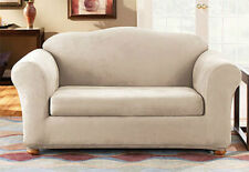 Sure Fit Stretch Suede 2 Piece Sofa Slipcover Box Cushion Oatmeal