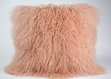 "Handmade Mongolian Fur 16""x16"" Square Pink Pillow & suede fabric back US stock"