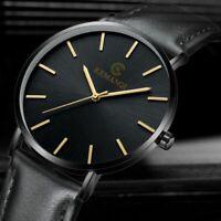 Men Trendy Minimalist Watch Slim Leather Strap Stainless Steel Quartz
