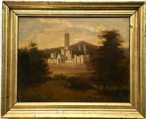 19th Century Oil Painting Fonthill Abbey Gothic Revival Castle English Landscape