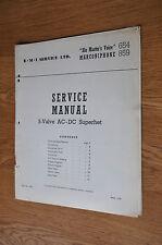 HMV 654 Marconiphone 859 5-valve AC-DC Superhet Genuine Service Manual