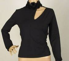 NWT VERSACE JEANS COUTURE RABBIT HAIR LEATHER CUTOUT TOP M