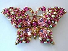 Butterfly Brooch Pin Paved with Pink and Aurora Borealis Crystals