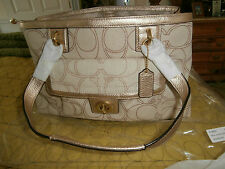 NWT AUTHENTIC COACH HANDBAG F19231 $328 LINEN AND GOLD LEATHER TRIM BEAUTIFUL