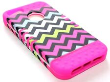 iPhone SE 5S - HARD&SOFT RUBBER HYBRID HIGH IMPACT CASE PINK GREEN CHEVRON WAVES