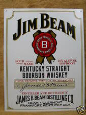 Jim Beam Bourbon Whisky Bar Tin Metal Sign Decor White NEW Bourbon Kentucky