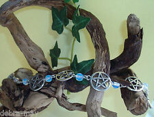 Pretty Opalite Moonstone Beads and Pentagrams Bracelet - Wicca Pagan Witch