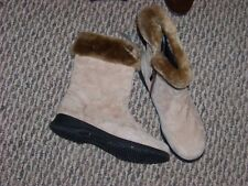 womens boston accent sport tan suede side zip faux fur trimmed boots size 6 n