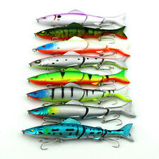 8pcs Fishing Lures Spinner Saltwater Crankbait Fish Tackle Hooks 3 Segment Bait