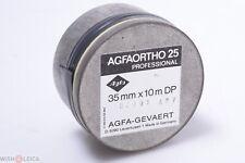 AGFA AGFAORTHO 25 35MM PROFESSIONAL 10M UNUSED BLACK & WHITE FILM JUNE 1991