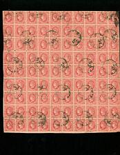 Spain 1864 4 cuartos Scott 62 Edifil 64 Block of 90 Used with Cartwheel 55