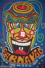 Cuba Poster Carnevale SANTIAGO DE CUBA luglio 1974 CLOWN 7x5 pollici RISTAMPA