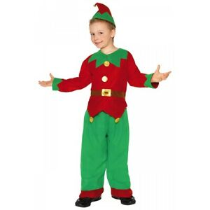 Kids Elf Costume Christmas Fancy Dress Outfit