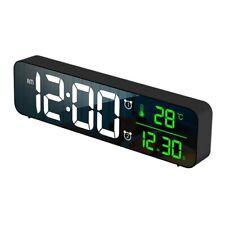 Large Alarm Clock Digital LED Display Portable Modern Battery Operated Mirror
