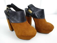 "DOLCE VITA NWOB 7 1/2 SOFT TAN SUEDE/BLACK LEATHER PLATFORM SHOES 5 1/2"" HEIGHT"