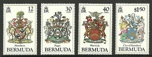 BERMUDA 1985 COAT OF ARMS HERALDRY MARINE SEAHORSE MERMAID WILDLIFE SET MNH
