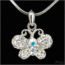 Mini Butterfly Pendant Necklace Charm Austrian Crystal Clear Jewelry Silver Tone