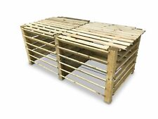 Doppel-Komposter Brettkomposter aus Holz mit Deckel 188x100x80 cm - ca. 1300 L