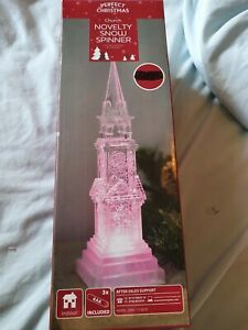Christmas Church Water Colour Changing Snow Spinner Glitter Effect NEW