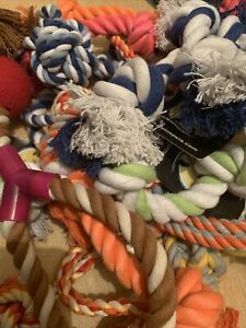 25 X Bundle Selection Job Lot  Colourful Ragger Rope Ball Tug Fetch Dog Toys
