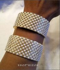 Pearl Pave Crystal Bracelet New Gold Double Cuff Faux
