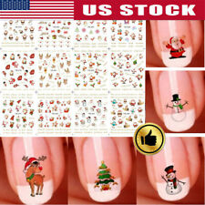 12 Sheets 2020 Christmas 3D Nail Art Stickers Snowflakes& Cute Snowmen Decals US