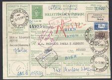 STORIA POSTALE REPUBBLICA 1961 Modulo Pacchi 25L da Genova a Liegi (E8)