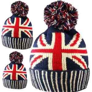 Union Jack Hat Men Women Pom Pom Bobble Ski Snowboard Winter Knitted Warm GB UK