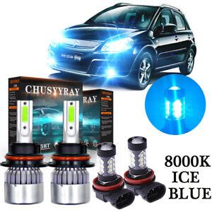 For Suzuki SX4 2007-2013 4x Combo 9007 & H11 LED Headlight Fog Light Blue Bulbs