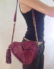 MODALU LONDON Púrpura Cuero de hombro Bolso con flecos en forma de corazón £ 99 nuevo Zz36