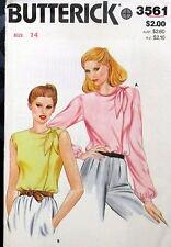 Vtg blouse pattern Womens Misses size 14 B36 knot shoulder 80s