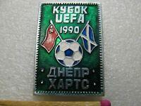 "Vintage Badge Sign UEFA Cup 1990,Match ""Dnepr"" - ""Hearts"" Football Soccer USSR"