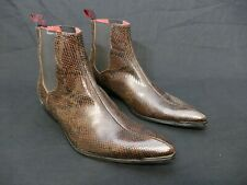 JEFFERY-WEST 'MUSE' Brown snake ADAMANT Pointy Chelsea  boot - UK 8